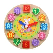 Baby Puzzle Toys Cartoon Clock Figure Wooden