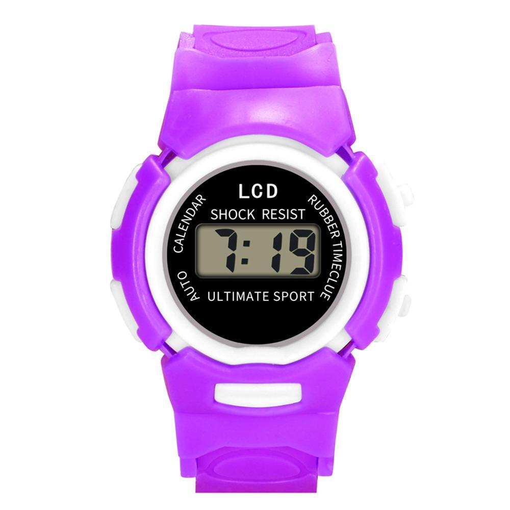Simple Style Children Girls Digital Led Quartz Sports Wrist Watch New Arrival Unisex Clock Solid Color Strap Relogio Menino#F