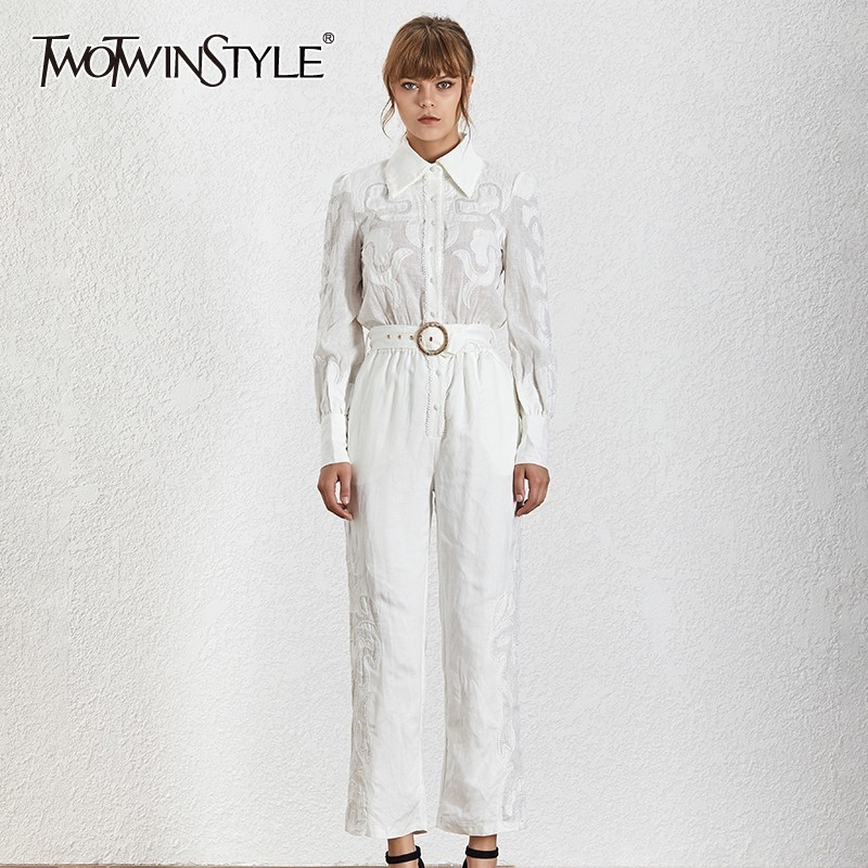 TWOTWINSTYLE Print Solid Perspective Women Jumpsuit Lapel Long Sleeve High Waist Slim With Sashes Fashion Clothes Female Spring