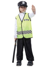 Free shipping!!Fluorescent yellow handsome traffic policeman clothing, costume party game show, Halloween party dress
