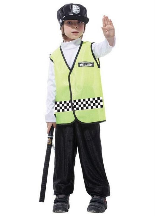 Gratis frakt! Fluorescerande gul stilig trafik polisman kläder, - Maskeradkläder och utklädnad