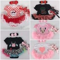 New Christmas Baby Infant Clothing Sets Cartoon Santa Claus Appliqued Girl Rompers Dress+Headband+Shoes 3 pcs Sets