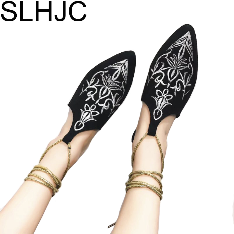 SLHJC 2017 Pointed Toe Embroidery Slippers Women Summer T Strap Pointed Toe Flat Heel Sandals Autumn Flats women t strap moccasins flat shoes low heel sandals black gray pink pointed toe ballet flats summer buckle zapatos mujer z193