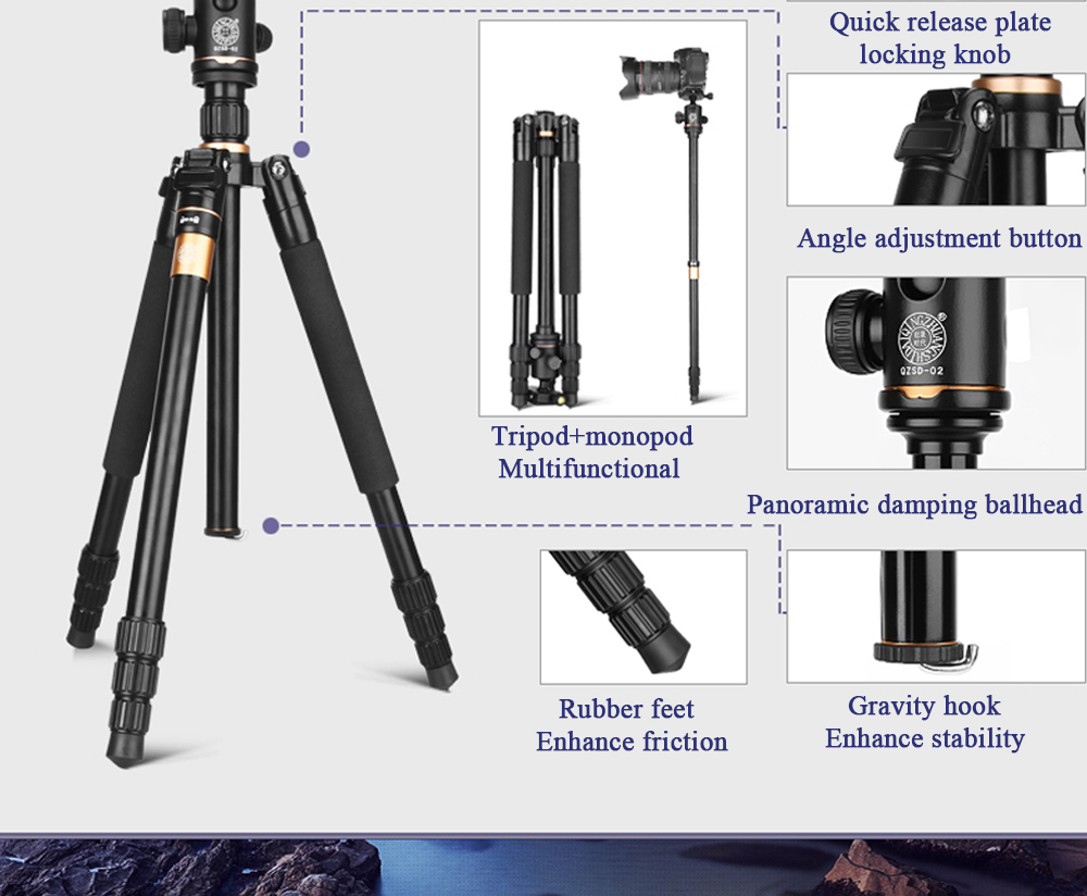 Q222 159cm Cnc Machining Aluminum Camera Tripod Monopod For Digital Dslr Video Camera Photo Stand For Camcorder 8kg Load Camera Tripod Monopod Tripod Monopodcamera Tripod Aliexpress