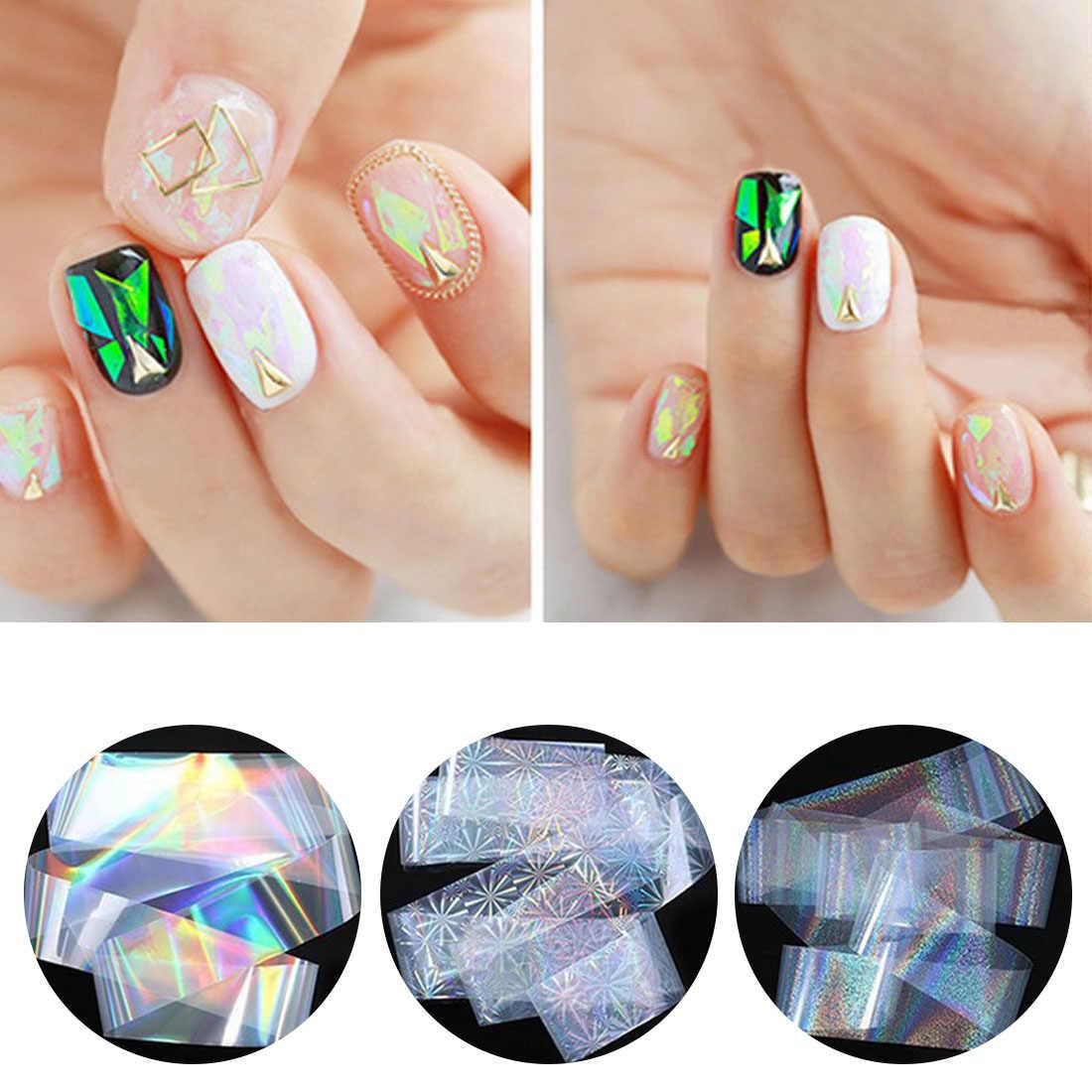 4*120 см Лазерная Фольга для ногтей Firworks голографическая прозрачная рефракция маникюрный дизайн ногтей декорации Lucency 8 узоров Звездные наклейки