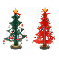 2pc/lot Home Christmas Ornament Creative Wooden Small Christmas Tree Handcraft Gift Merry Christmas adornos navidad 2016