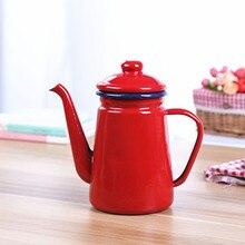 Эмалированный чайник красный кофейник 1.1л
