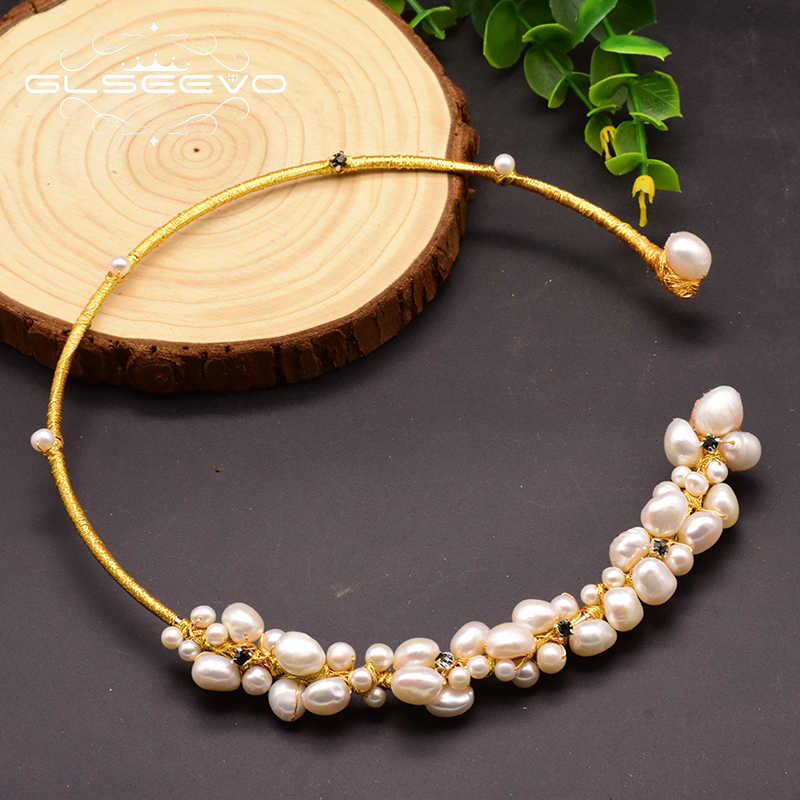 GLSEEVO Natural Fresh Water Baroque Pearl Choker Necklace Birthday Gifts For Women Bride Wedding Necklaces Luxury Jewelry GN0061