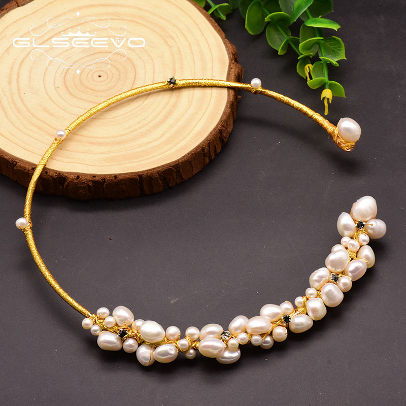GLSEEVO Natural Fresh Water Baroque Pearl Choker Necklace Birthday Gifts For Women Bride Wedding Necklaces Luxury Jewelry GN0061-in Necklaces from Jewelry & Accessories on Aliexpress.com | Alibaba Group