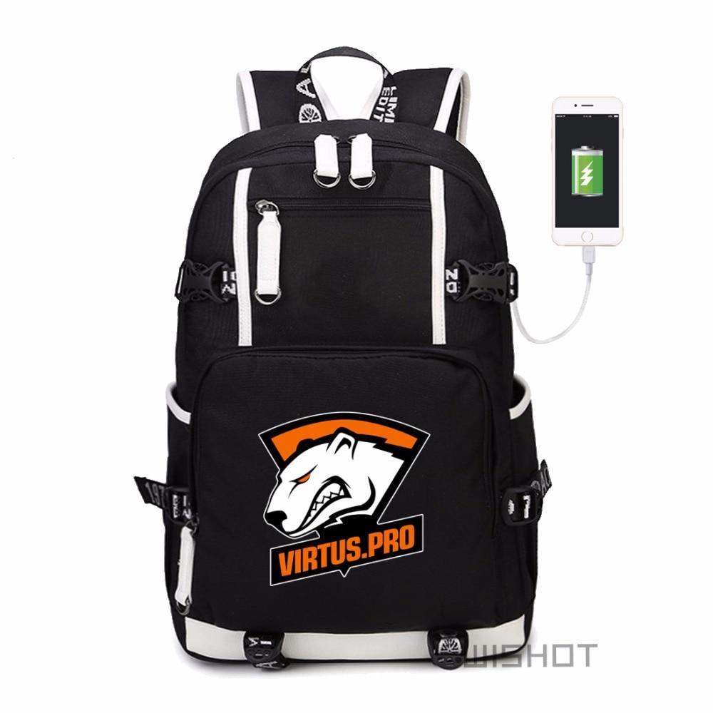 WISHOT Team Fnatic Virtus pro DOTA 2 backpack CS CSGO NAVI for teenagers multifunction USB charging