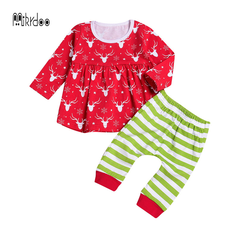 6f1ecec08083 Best buy Newborn Baby Girls Christmas Outfit cotton Romper with Striped Pants  outfits Jumpsuit Costume 2017 baby thanksgiving clothing online cheap