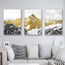3PCS Golden Snow Mountain Abstract Wall Art Print Canvas Painting Decorative Picture for Home Decor Poster