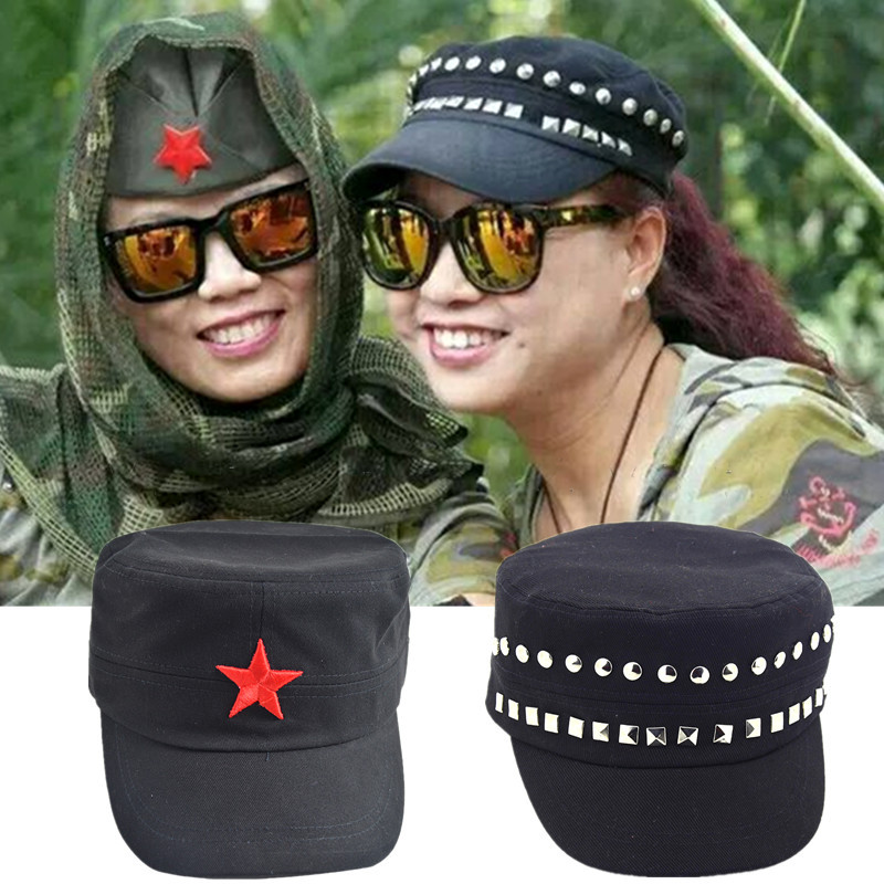 78196dd2fbe 3D Red Star Embroidery Bone Military Cap Black Army Green Flat Top Hats for couple  Men Women Army Gorras Boina Outdoor Sun Hat-in Military Hats from Apparel  ...