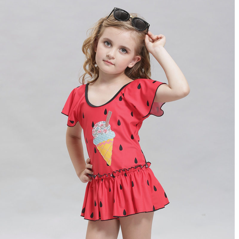 Print Foral Swimsuit Girl Swimwear One Piece For Kids -1272