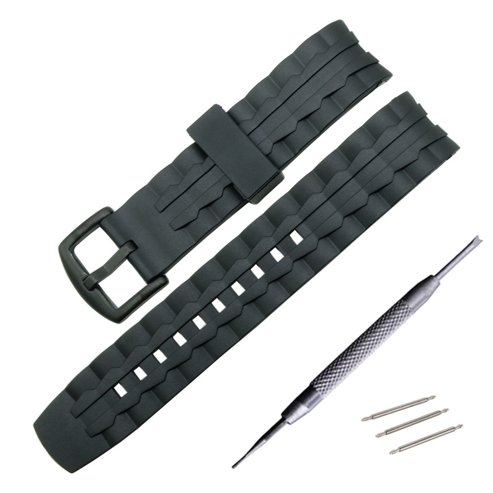 Silicone Watch Band Black Stainless Steel Buckle Watchband Rubber Strap For Casio EF-550 EF550 22mm Rubber Strap Free tools