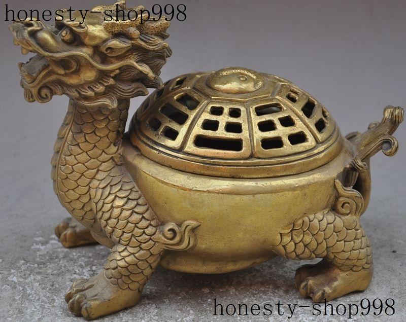 7 Chinese Fengshui brass longevity Dragon turtle Tortoise incense burner Censer7 Chinese Fengshui brass longevity Dragon turtle Tortoise incense burner Censer