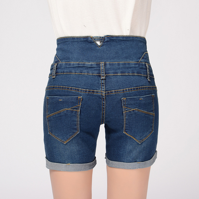 Yaz yeni şort qadınlar jeans düz bel cılız denim - Qadın geyimi - Fotoqrafiya 4