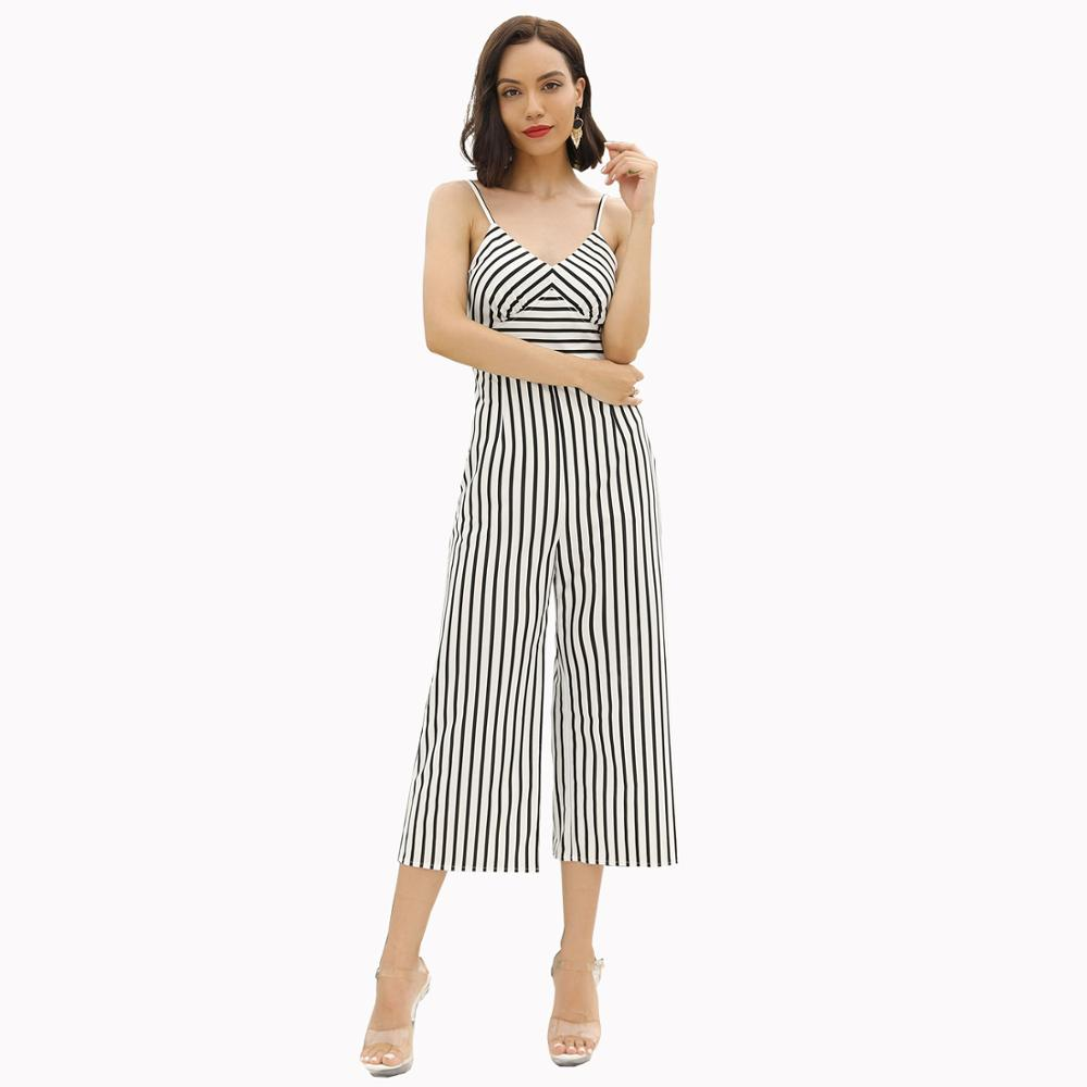 Summer new popular sling jumpsuit fashion casual women 39 s trousers sexy striped slim high waist loose women 39 s jumpsuit in Jumpsuits from Women 39 s Clothing