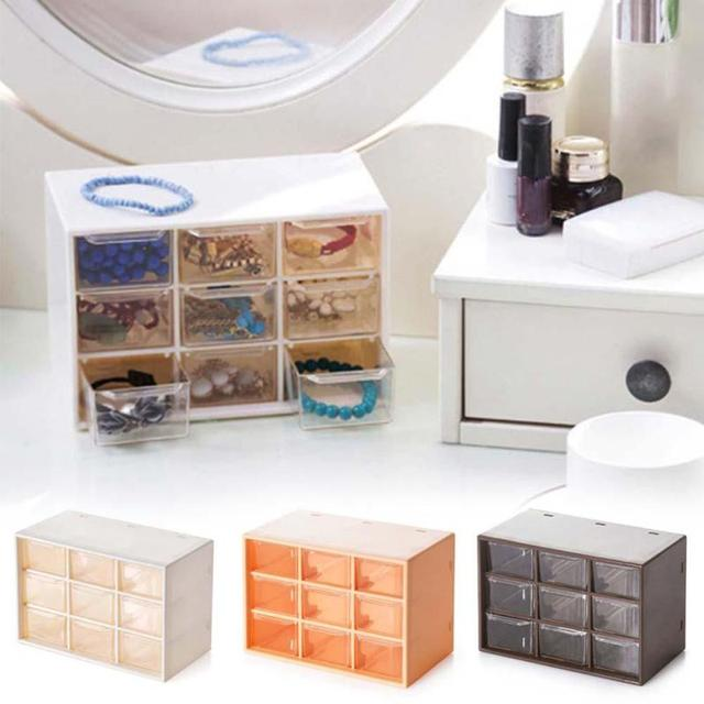Transparent 9 Jewelry Storage Box Mini Cabinets Lattice Portable Amall  Drawer Sorting Grid Desktop Office Supplies