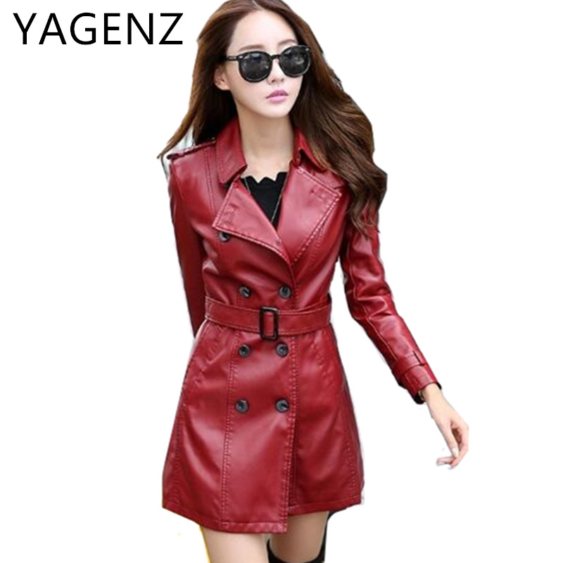 2018 Large size PU Leather Women Jacket Coats Autumn Double breasted Slim Women Faux Leather Long Coat Belt Women Clothing 5XL ...