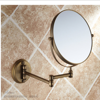 Wholesale And Retail Bathroom Wall Mount Antique Brass Beauty Make Up Mirror 8 Round Double Sides