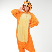 Cute Animal Lion Pajamas Sets Flannel Long Sleeve Hooded Homewear Clothing Adult Unisex Sleepwear Pajamas