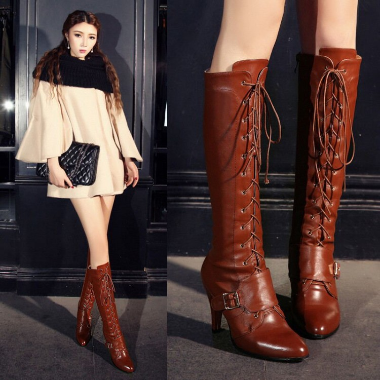 цены Women Autumn Winter Thin High Heel Pointed Toe Genuine Leather Buckle Lace Up Fashion Knee High Boots Size 34-39 SXQ0818