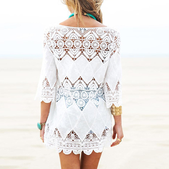 New Summer Swimsuit Lace Hollow Crochet Beach Bikini Cover Up 3/4 Sleeve Women Tops Swimwear Beach Dress White Beach Tunic Shirt 4