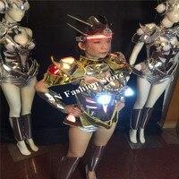 BS04 Свет Костюмы Световой Бюстгальтер Сексуальная модель автомобиля носит одежду диско DJ женщины платья партия этап певец шоу юбки