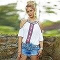 Europa EE.UU. Venta Caliente dulce sin tirantes de la correa de espagueti del verano marea de impresión media manga Del O-cuello femenino Camiseta floja camisa de gasa blanca