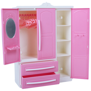 Image 3 - High Quality Pink Wardrobe for Barbie Doll + 10x Hanger Plastic Mini Dollhouse Bedroom 1:6 Cute Furniture Accessories Kid Toy