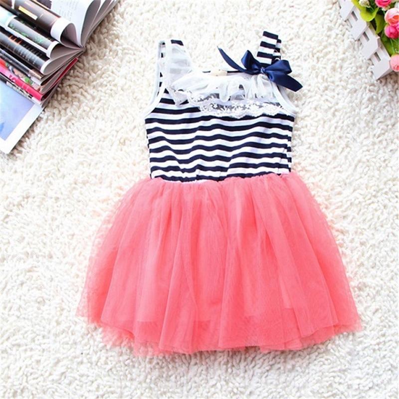 Verão Da Criança Do Bebê Vestido Da Menina de Flor de Tule Suspensórios Rendas Bowknot Listras Tutu Dress 2-6A