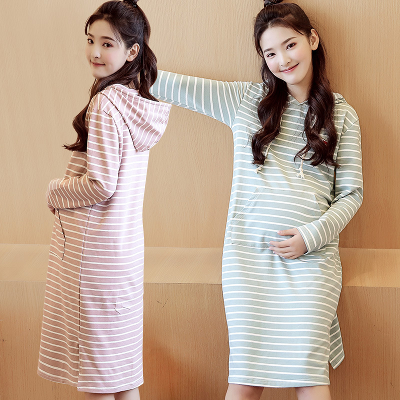 все цены на Maternity Dress Long Plus Size Autumn Winter Pregnant Women Clothes Pregnancy Dress Striped Long Sleeve Gravida Envsoll