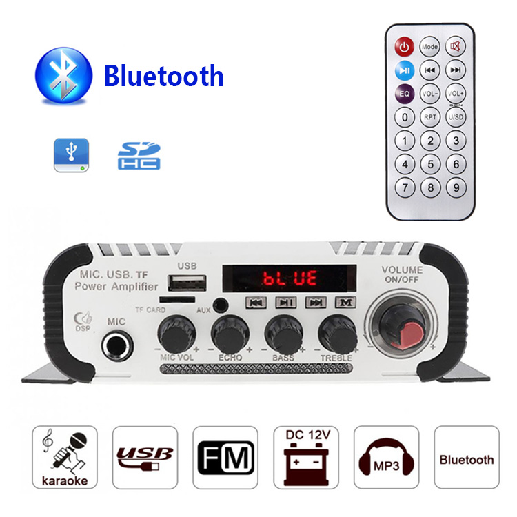 Kentiger HY-V11 Support 6.5mm MIC Bluetooth Amplifier USB TF FM AUX Multifunction dac Karaoke Speaker Amplificador hy hy bt74 bluetooth v2 0 speaker w 3 5mm usb 2 0 microphone fm tf blue white