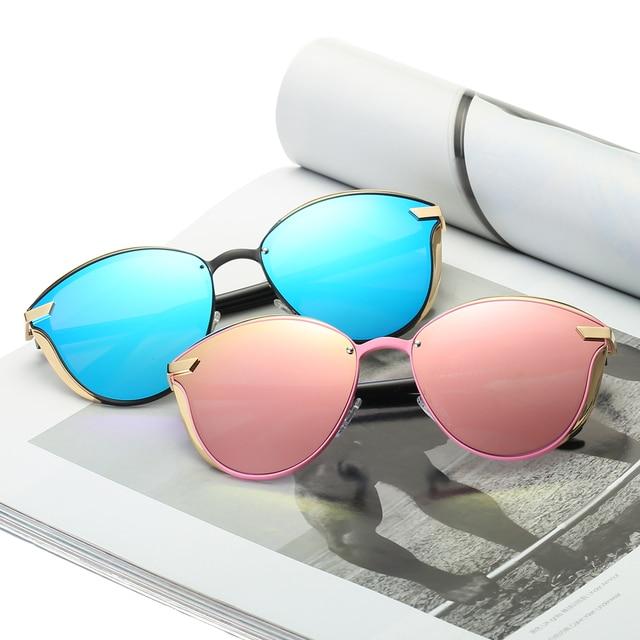 725138e905422b Dames 2018 Marque Designer Rose Bleu Cat Eye lunettes de Soleil Or Métal  Cadre UV400 Lunettes