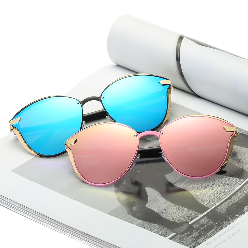 Dámské značkové sluneční brýle 2018 Pink Blue Cat Eye Gold Metal Frame UV400 Sluneční brýle polarizované sluneční brýle pro ženy