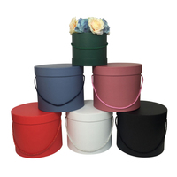 Wholesale 18 Sets 3 Pcs A Set Solid Big Flower Barrel Round Paperboard Boxes With Lid Wedding Favors Bucket Gift Packaging