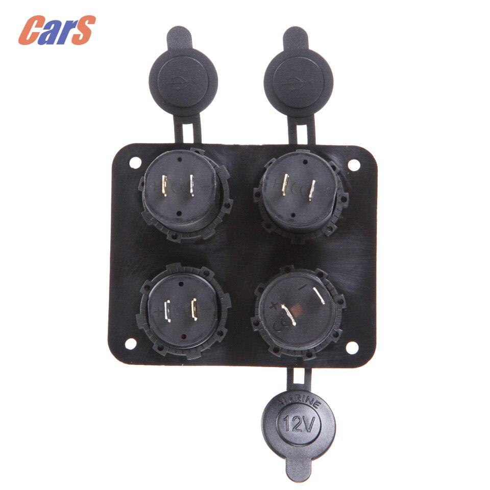 Car Gauge Car Voltmeter Dual USB Port Voltmeter Car Cigarette Lighter charger four-hole panel 6-33V
