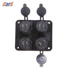 Автомобиля Колесная база, Вольтметр Вольтметр Двойной USB Порт Автомобильного Прикуривателя зарядное устройство четыре отверстия панели 6-33 В