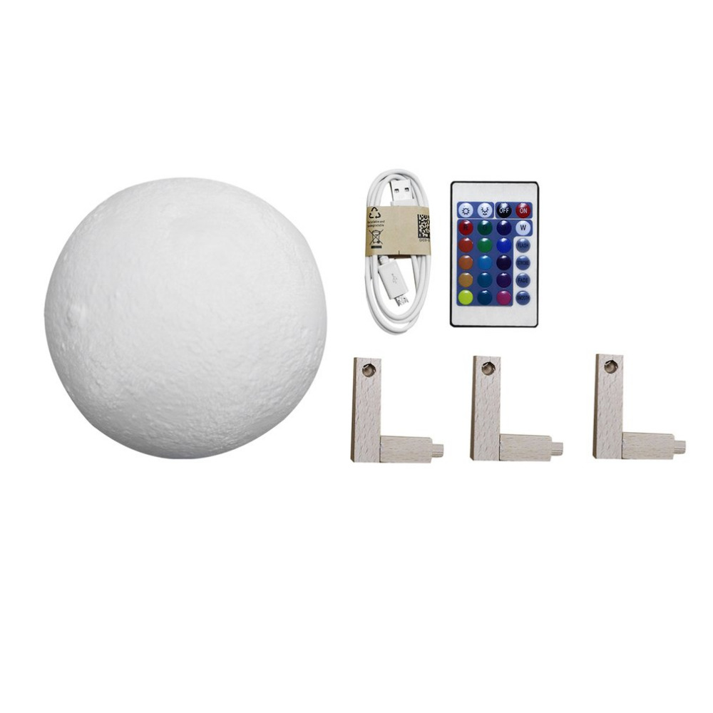 16 Colors Changing 3D Print Moon Lamp with Remote Control Bedside Decor Changeable Night Lights Christmas Gift 12/15/18/20cm icoco rechargeable 3d print moon lamp color changeable bedroom bookcase home decor gift remote control night light 12 15 18 20cm