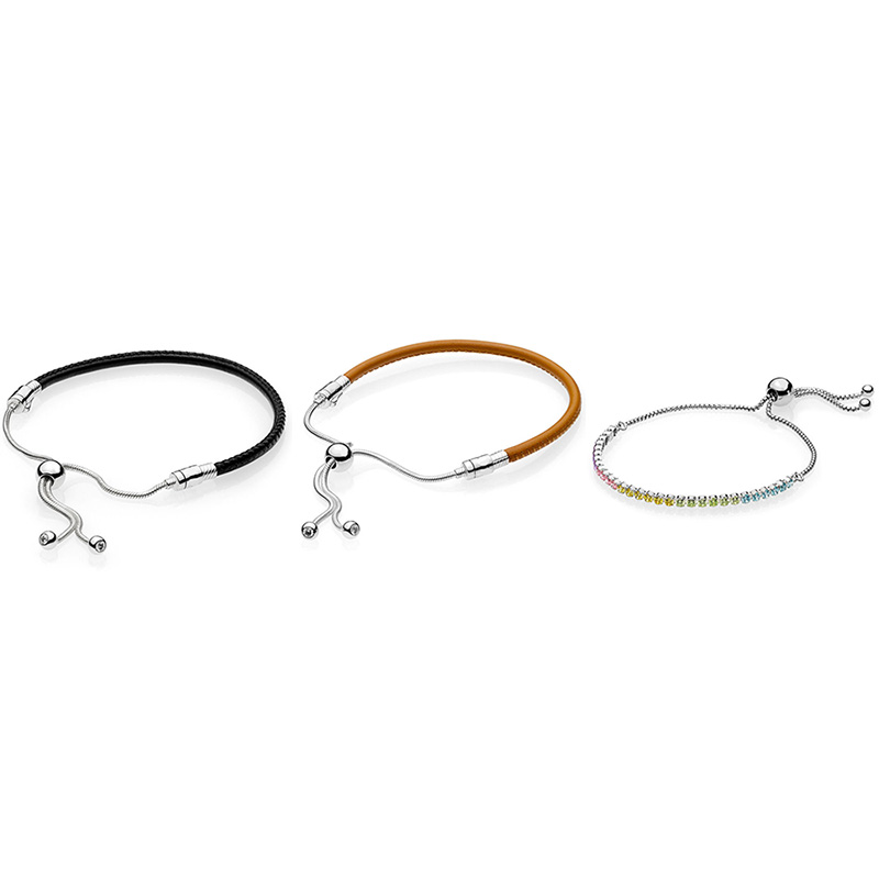 купить 3 Style 2018 New 925 Sterling Silver Black Brown Classic Colored Crystal Bracelets For Women Diy Charms Jewelry по цене 1857.69 рублей