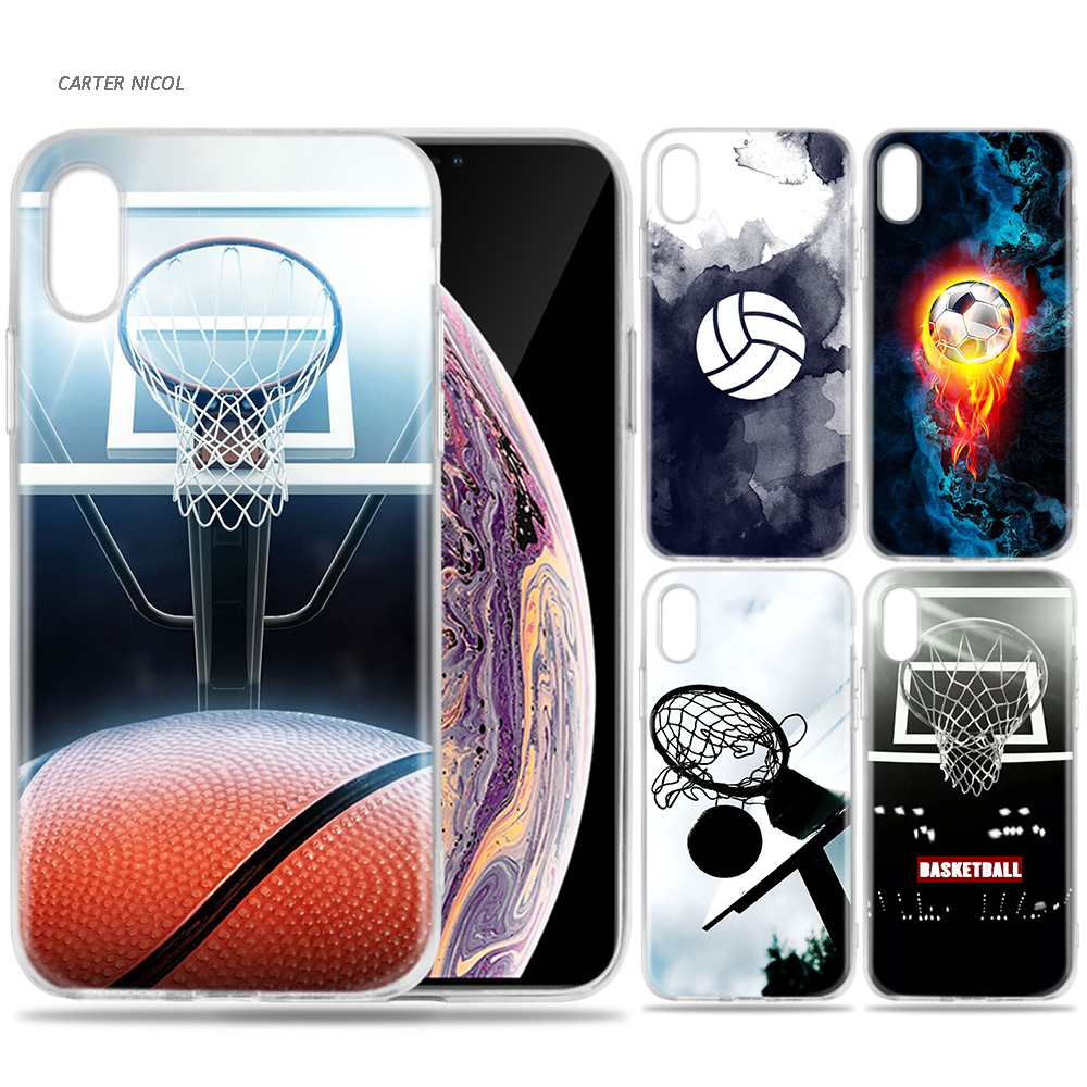 64d8ade78f6 Case for iPhone 7 8 6 6s Plus 5 5S SE 5C X XS MAX XR Silicone Coque Cases  Cover Basketball Football Soccer Volleyball