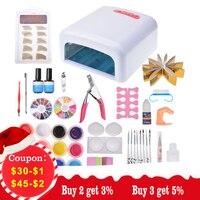 Biutee 12 color uv gel polish & 36W UV LED Lamp dryer Kit Nail Art Brushes set Nails Gel Extension Stick Nail Tool Manicure Set