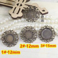 12mm,15mm 100pcs Antique Bronze Blank Pendant Trays Bases Cameo Cabochon Setting for Glass/Stickers