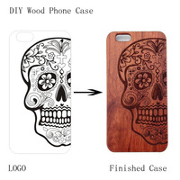 Hot Sale Case for iphone 8 i8 New Laser Engrave Real Wood and plastic Custom Any Pattern DIY Logo Cover For iphone 8 plus Case