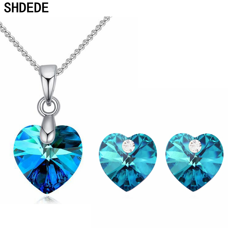 Us 2 74 39 Off Shdede Crystal From Swarovski Heart Necklaces Earrings Sets Bride Party Jewelry Gifts Clic Anniversary Weddings Accessories In