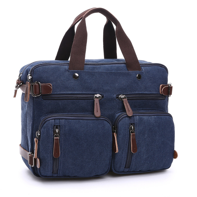 2019 Canvas Briefcase Man Business Multi-functiona Messenger Vintage Laptop Handbag Male Casual Business Laptop Pocket Back Pack