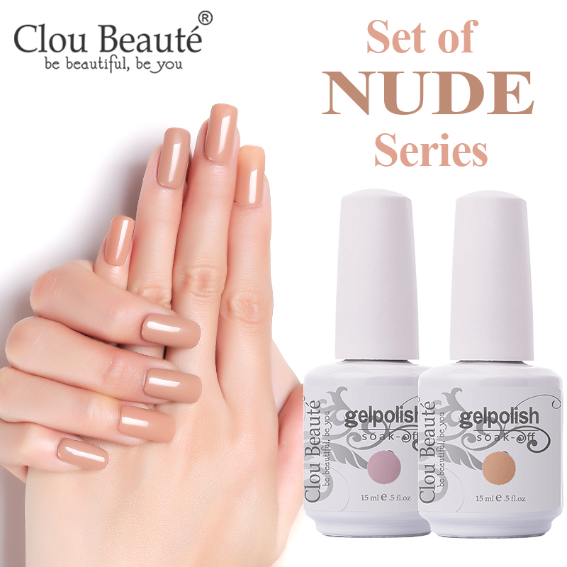 Clou Beaute All 18 Nude Colors Gel Nail Polish Varnish Nail Manicure Wholesale Nail Gel Brown Khaki Color Soak Off Gels Lacquer
