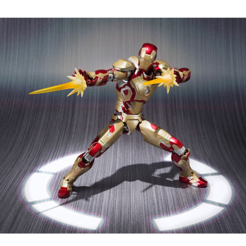 Iron Man 3 Original BANDAI Tamashii Nations S. H. Figuarts/SHF PVC Action Figure-Figures Iron Man Mark 42 / MK42 Superhero L1784 100% original bandai tamashii nations s h figuarts shf action figure spider man homecoming