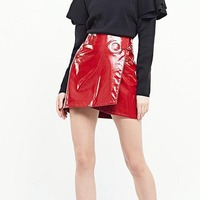 Women Sexy PU Short Skirts Metal Ring Zipper Mini Skirt Solid A Line Fashion Womens Clothing